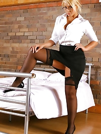 Sexy secretary Cherry shows off the lovely lingerie..