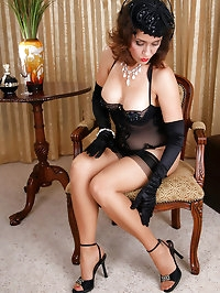 Awesome black lingerie mom also on high heels