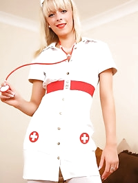 Sexy nurse in high heels and white stockings.