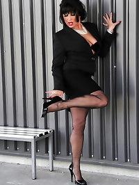 Stunningly beautiful Amanda in black suit