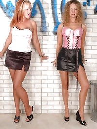 Naughty sweethearts in sexy pantyhose delight