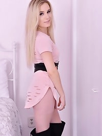 Lovely Lena enters the room, in fine sheer pink pantyhose,..