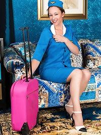 A flight attendant uniform highlights all of the hot..