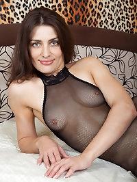 Gorgeous Egina in her fishnet body stocking