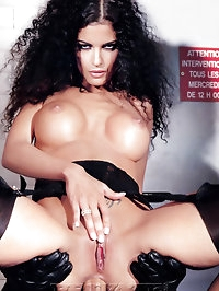 Beautiful curly hair beauty in fetish games