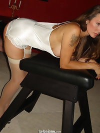 White stockings look so good especially bent over a bench