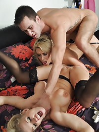 Cock hungry Rebecca gets stuck in the middle of a fourway..