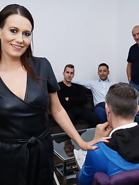 This naughty Cougar gets her fill from three guys