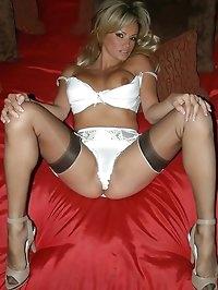 Mama in sexy white lingerie