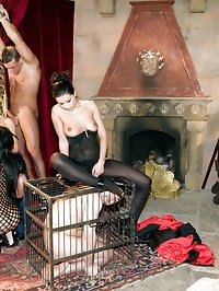 Amazing orgy in the castle with four girls