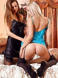 Eufrat and Michelle M slowly undress each other and tease..