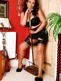 Danica Collins does her chores dressed in black stockings