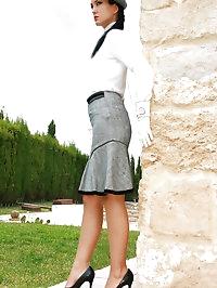 Retro tease in shiny stockings