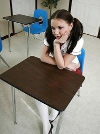 Brunette schoolgirl wraps her warm lips around her..