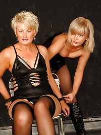 A couple hot MILF get messy and then get it on with each..