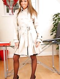 Amazing secretary wearing gorgeous red lingerie beneath..