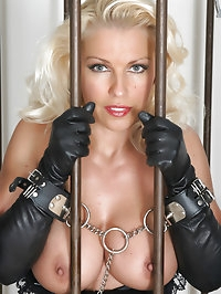 Leggy Lana gets caged and masturbates to pass the time