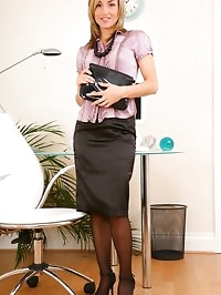 Mel the saucy secretary in black stockings