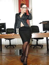Office slut Mya Diamond in black stockings teasing