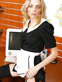Slim Steph strips out of her French Maid's uniform after..